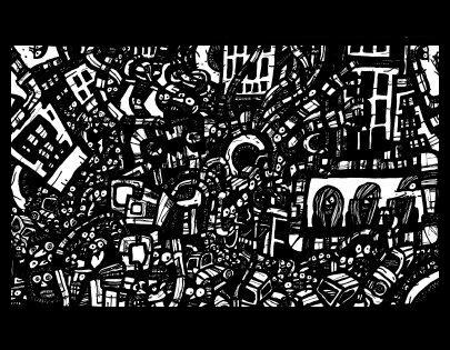 surrealism art, ink drawings