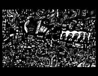 dark city, surrealism art, comic book drawings