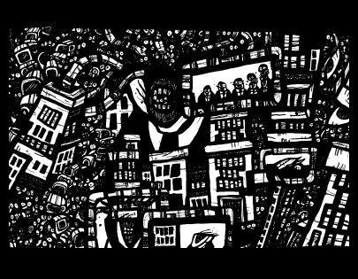 robot city, surrealism art, comic book drawings