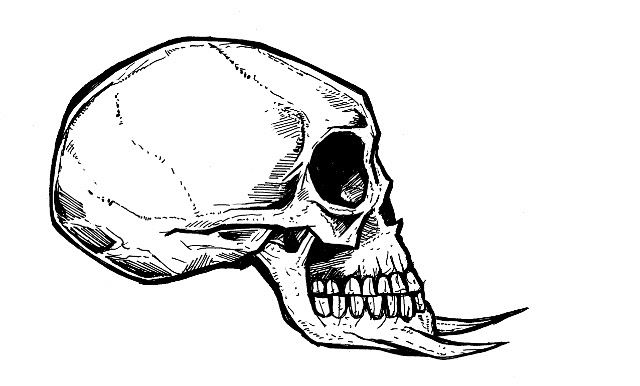 skull drawings, demon, vampire
