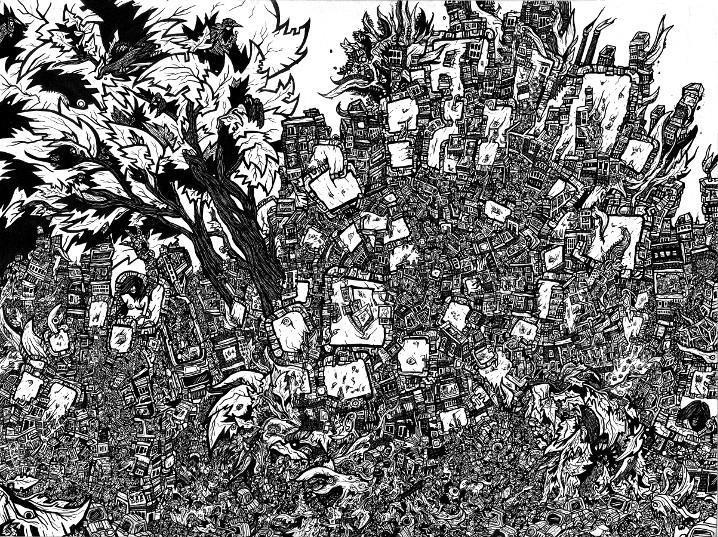comic book poster, tree drawings