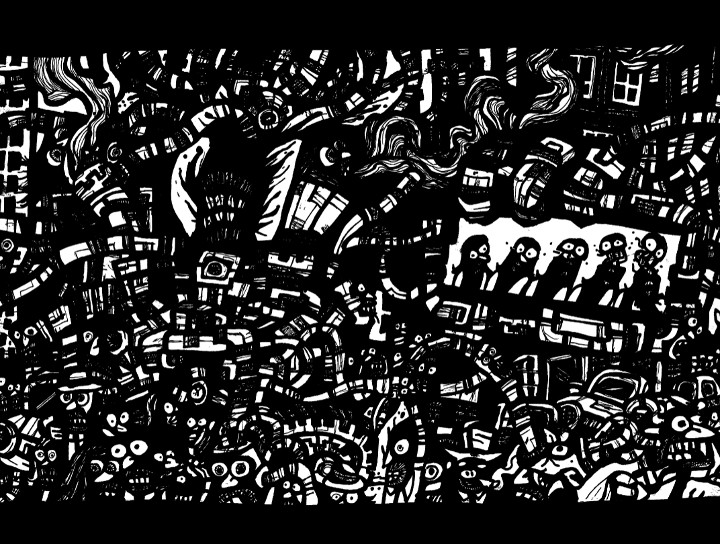 dark city, gothic ink drawings