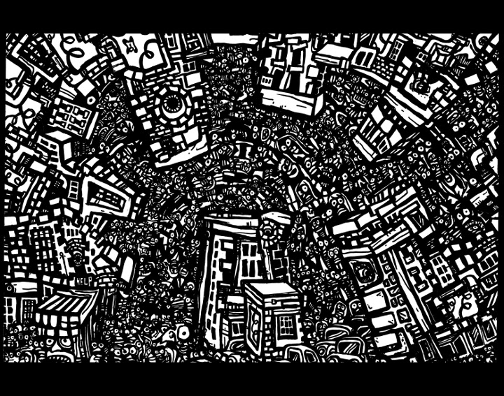 expressionist art, black white drawings