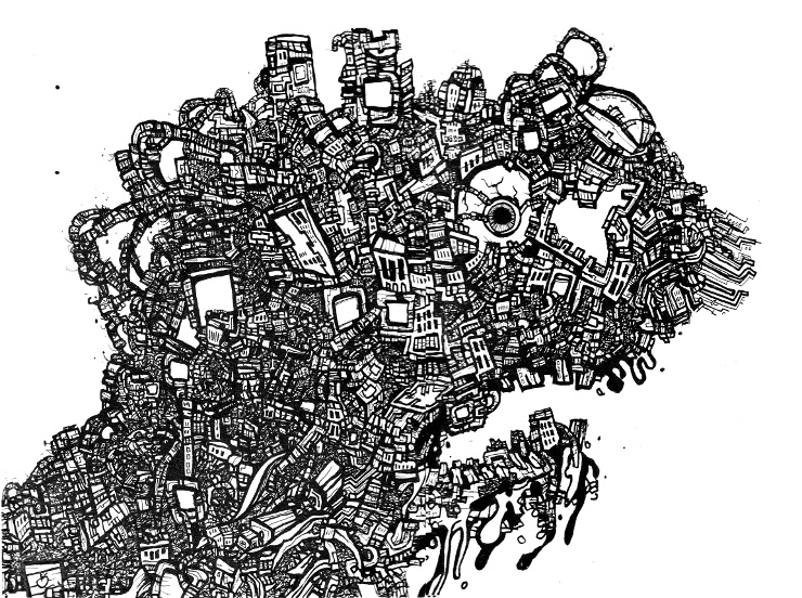 Canadian Art, Ink Drawings,THE CITY FACE