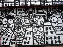 black and white art, mural paintings