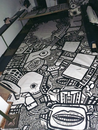 cartoon drawings, graffiti murals