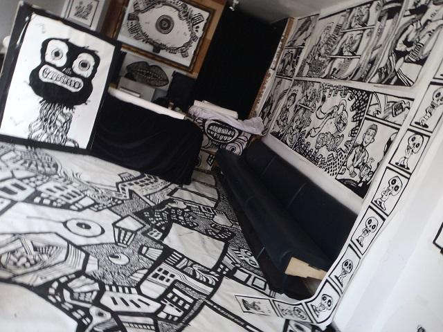 cartoon drawings, mural art