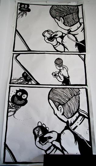 cartoon drawings, surreal zombies