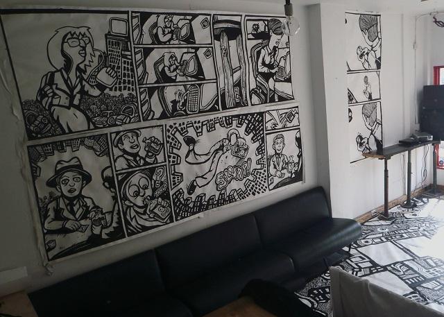 Cartoon murals drawing comics for Comic book mural
