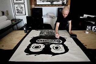 cartoon murals,monster drawings