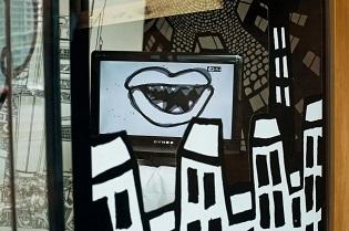 cartoon murals,video art