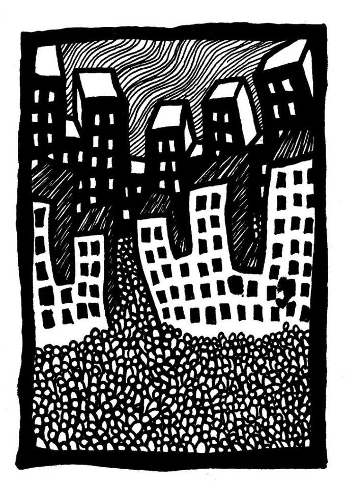 city artwork, ink, cartoon