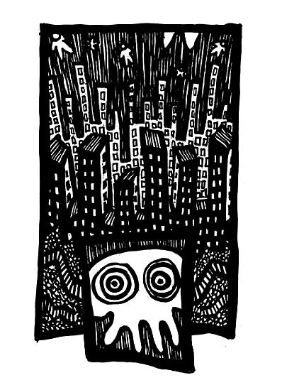city nightmares, ink art