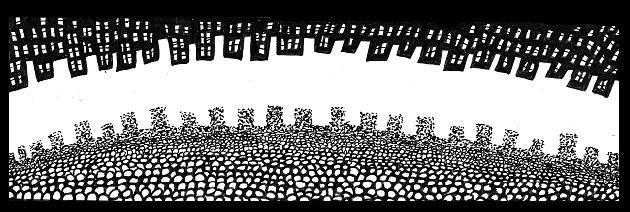 comic city,drawings,Canadian,art,monster,comics,black,white,pen,ink