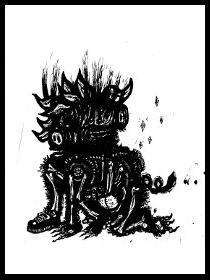 dark drawings,two headed pig