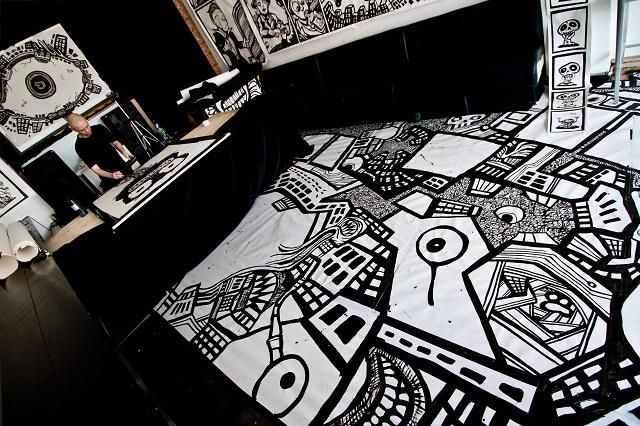 cartoon murals, drawing comics