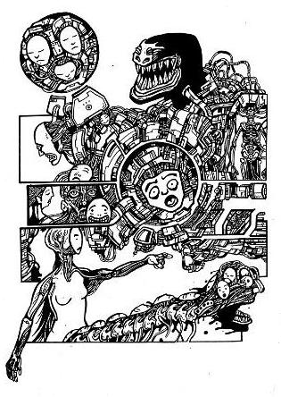 gothic drawings,artwork, comics, robots