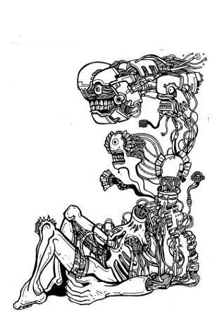 gothic drawings,comics,robot