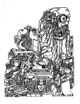 gothic drawings,robot, monster, art