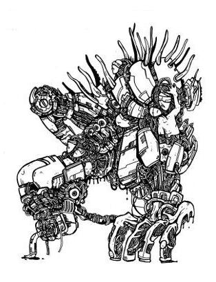 gothic drawings,robot monsters