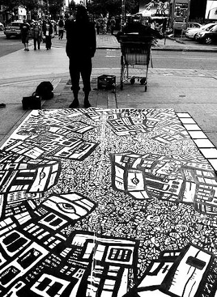 graffiti styles, sidewalk paintings