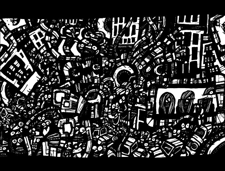 ink drawings, surreal