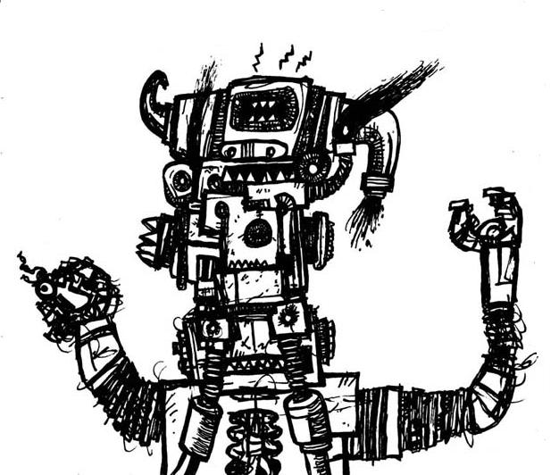 robot doodle,comics,weird,art,canadian,alternative,pen,ink,galleries,monsters,science fiction
