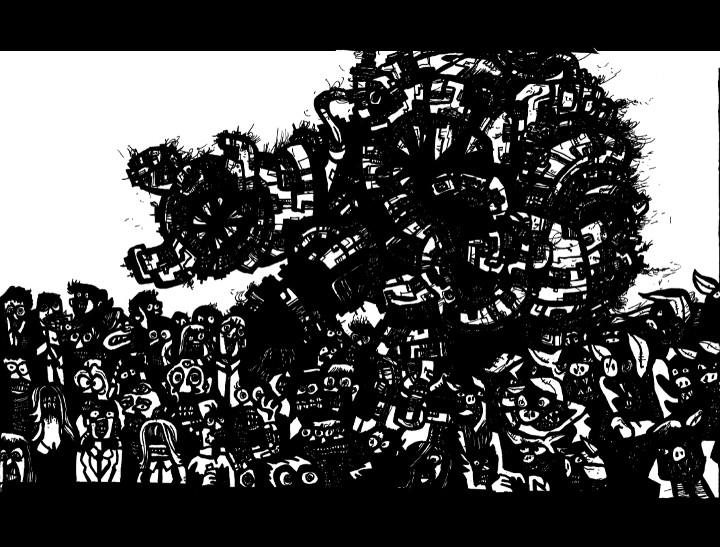 robot drawings, surrealism art