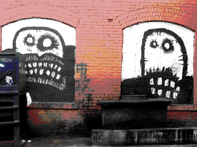 scary faces, zombie, murals