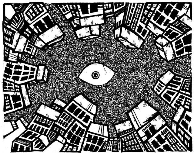 spiral city, black and white drawings