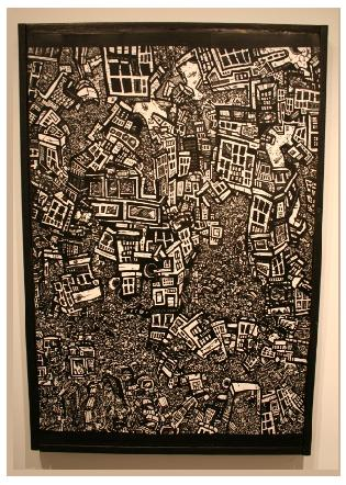 urban art, pen and ink drawing