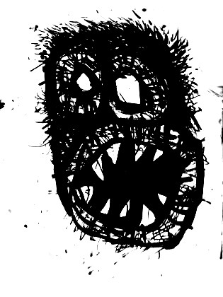 black and white artwork, scary faces