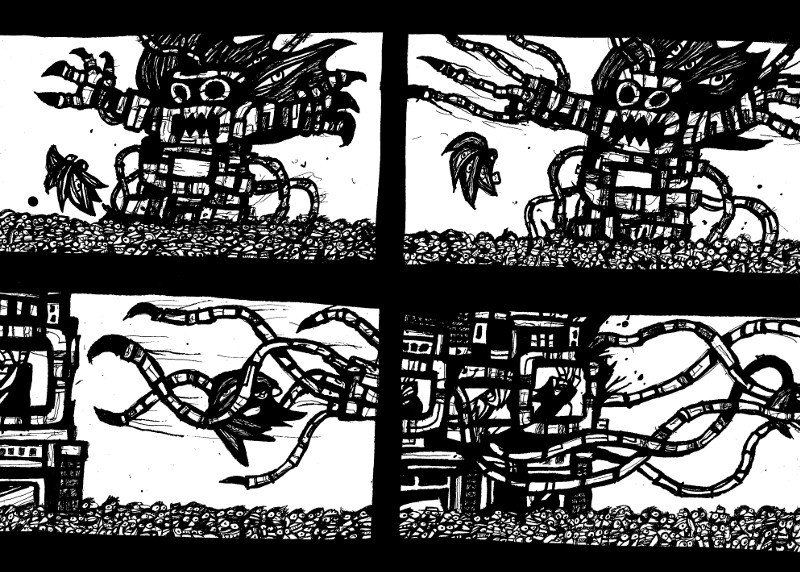 black and white comics, robot monsters