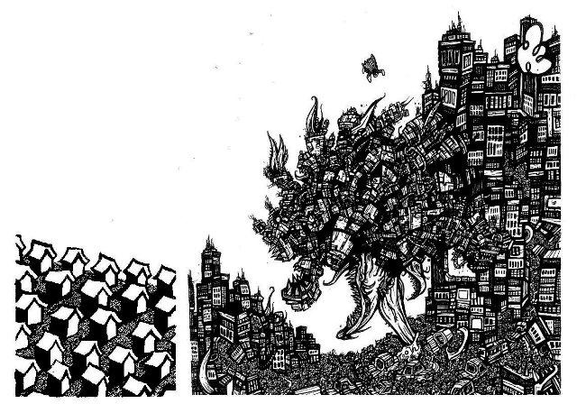 black white art,monster,dragon