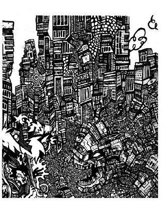 black white art, street, robot monsters
