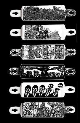 monster drawings, skateboards, longboards