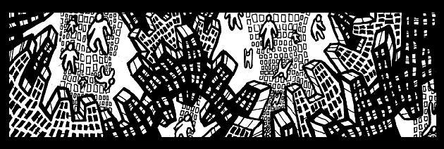 comic city, drawings,Canadian,art,monster,comics,black,white,pen,ink
