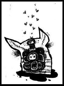 dark drawings,monster pig,