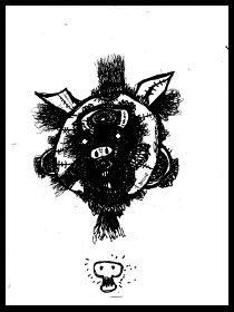 dark drawings,pigs head