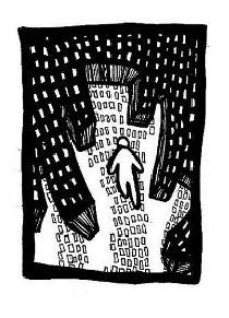 existential art,city dream,ink drawings