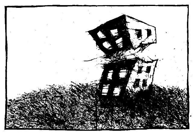 existential art, city dreams, ink drawings