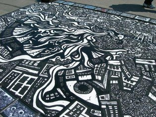 graffiti styles, sidewalk paintings