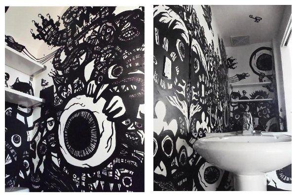 graffiti wall art, comic book drawings