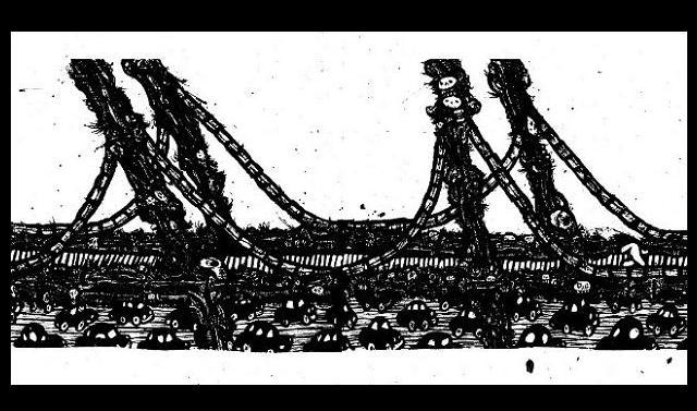 New York Drawings,pen and ink artwork, brooklyn bridge
