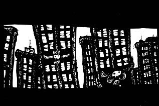 New York Drawings,pen and ink artwork, gothic, skull