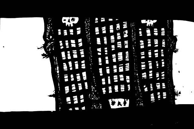 New York Drawings,pen and ink artwork, skull art