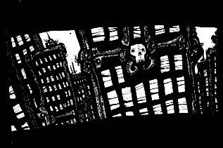 pen and ink artwork,skulls
