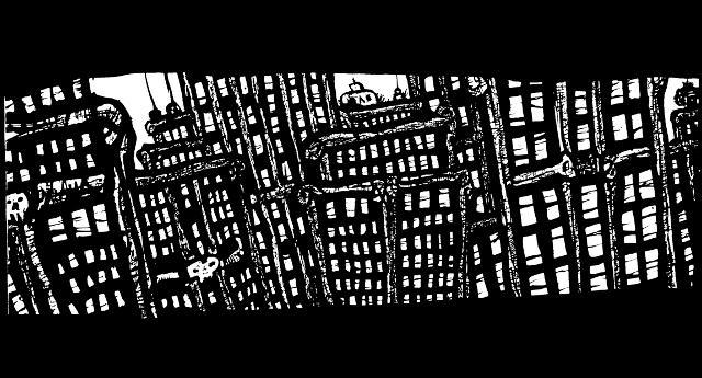 New York Drawings,pen and ink artwork, vertigo
